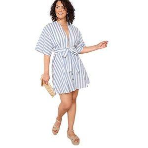 Blue Stripped V Neck Backless Mini Dress